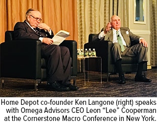 "Home Depot co-founder Ken Langone (right) speaks with Omega Advisors CEO Leon ""Lee"" Cooperman at the Cornerstone Macro Conference in New York"